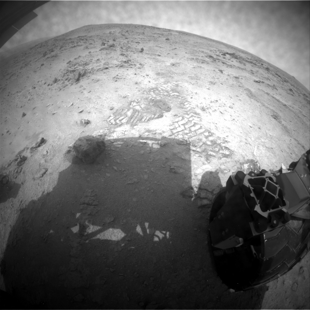 NASA's Mars rover Curiosity acquired this image using its Rear Hazard Avoidance Cameras (Rear Hazcams) on Sol 112