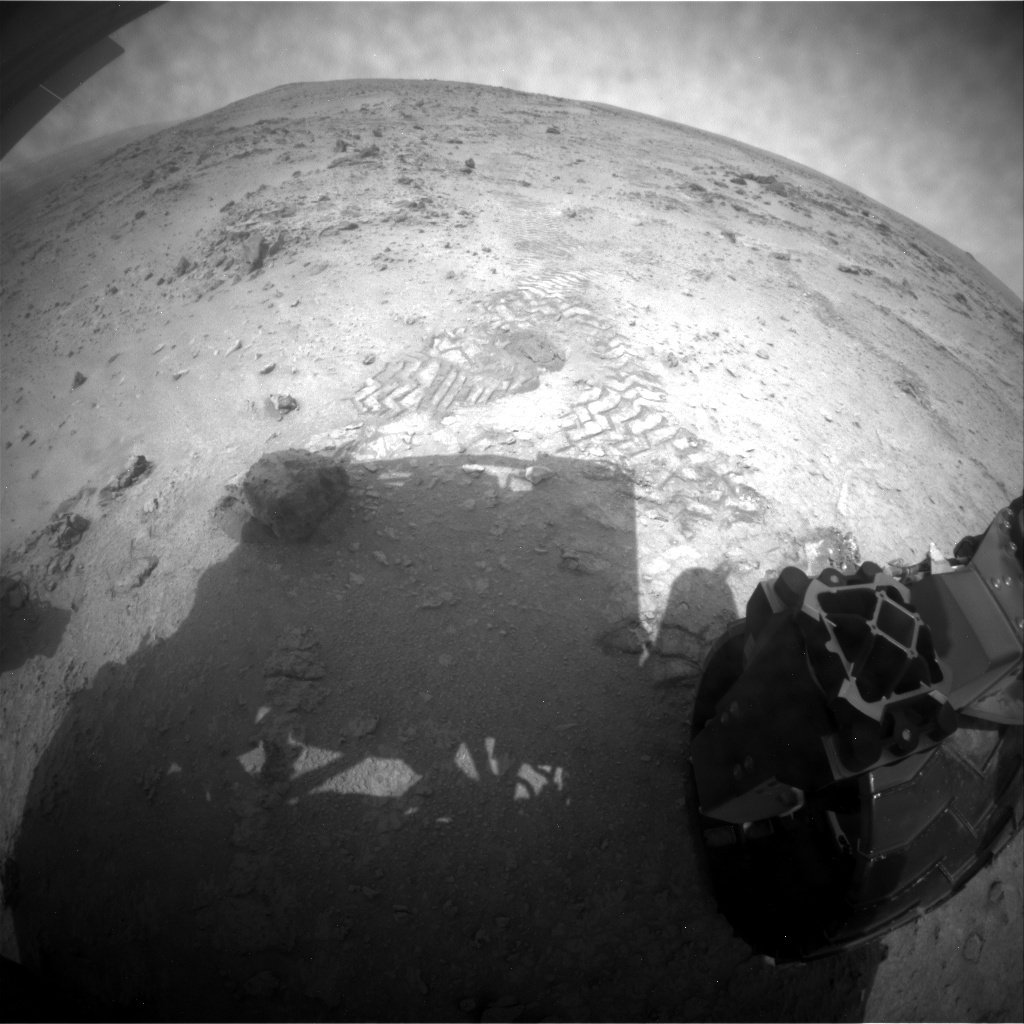 NASA's Mars rover Curiosity acquired this image using its Rear Hazard Avoidance Cameras (Rear Hazcams) on Sol 114