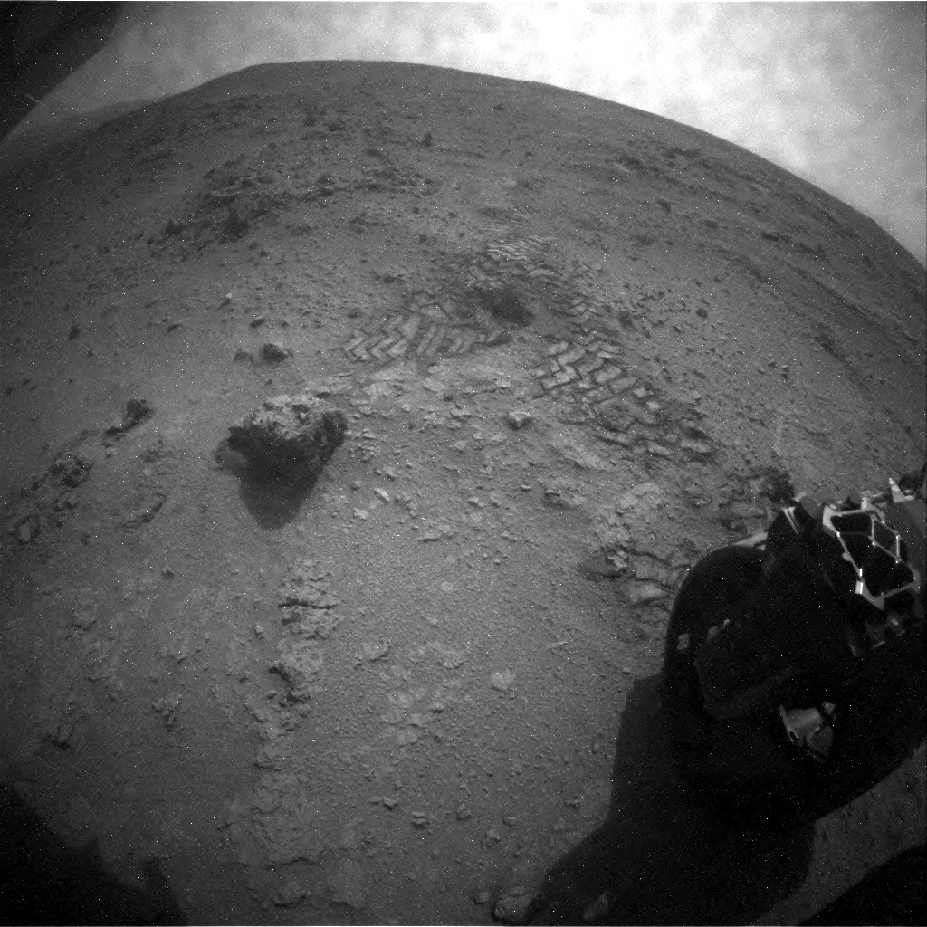 NASA's Mars rover Curiosity acquired this image using its Rear Hazard Avoidance Cameras (Rear Hazcams) on Sol 118