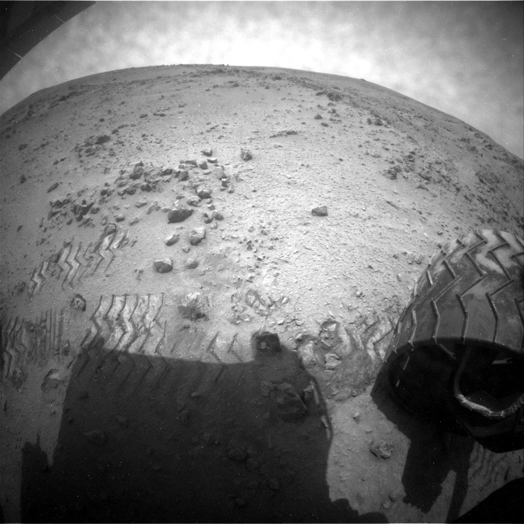 NASA's Mars rover Curiosity acquired this image using its Rear Hazard Avoidance Cameras (Rear Hazcams) on Sol 120