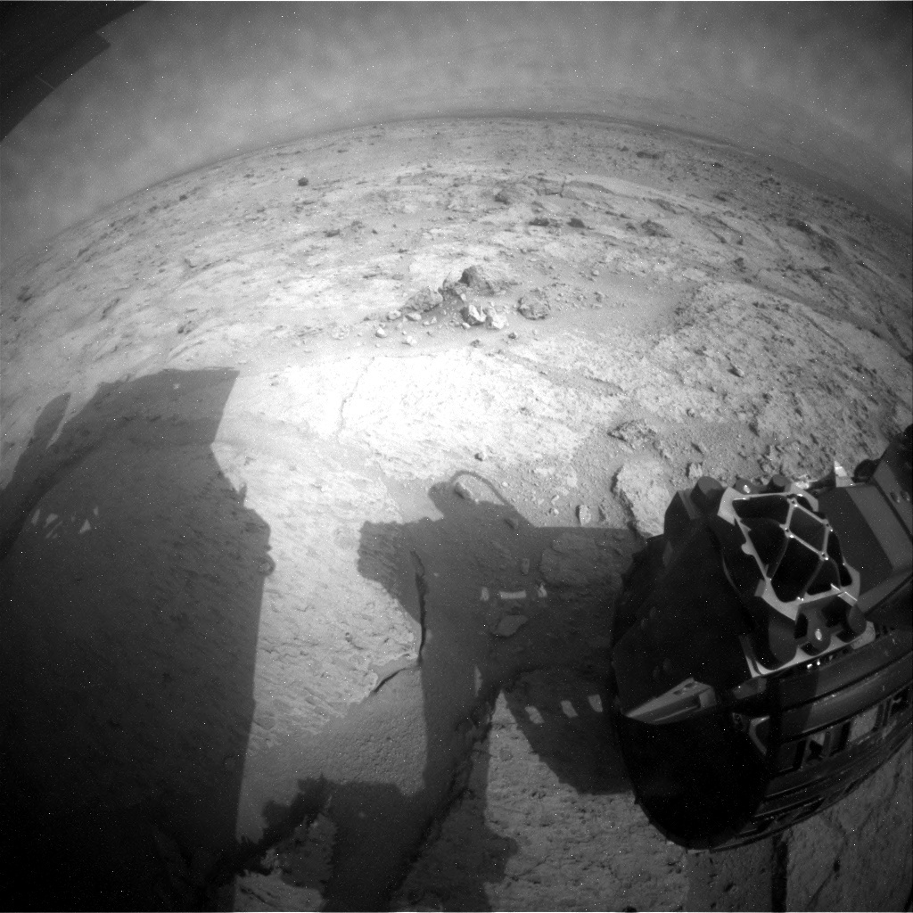 NASA's Mars rover Curiosity acquired this image using its Rear Hazard Avoidance Cameras (Rear Hazcams) on Sol 121