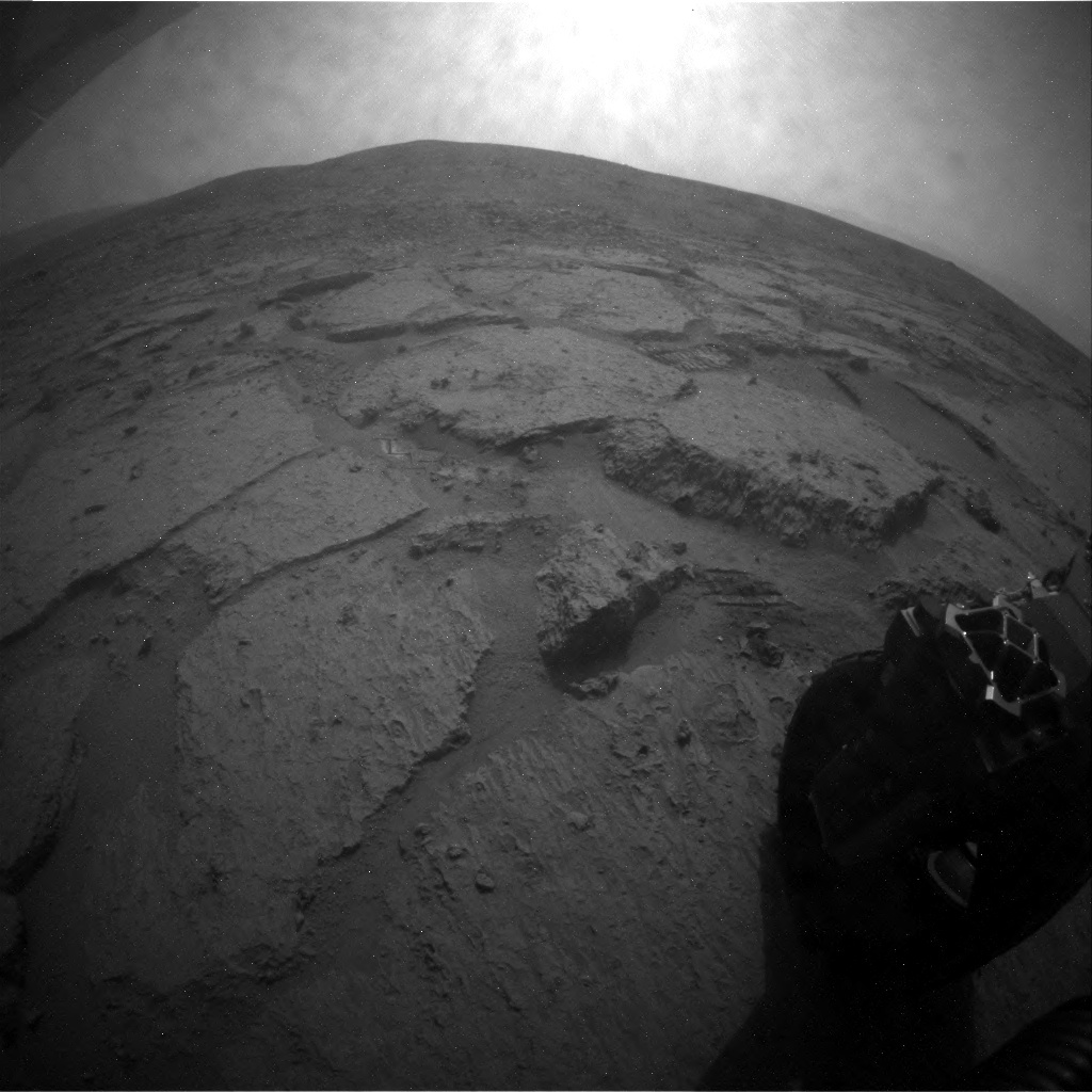 NASA's Mars rover Curiosity acquired this image using its Rear Hazard Avoidance Cameras (Rear Hazcams) on Sol 122