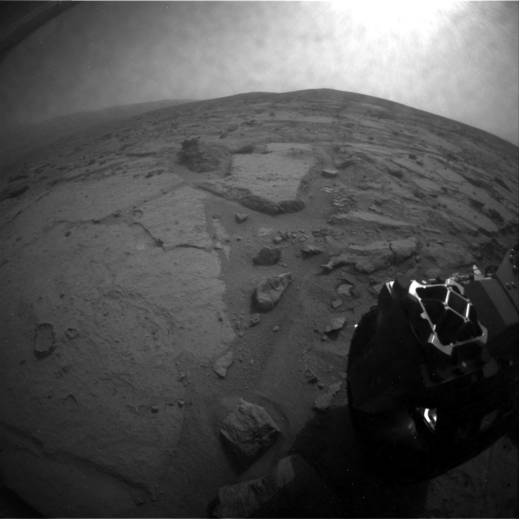 NASA's Mars rover Curiosity acquired this image using its Rear Hazard Avoidance Cameras (Rear Hazcams) on Sol 123