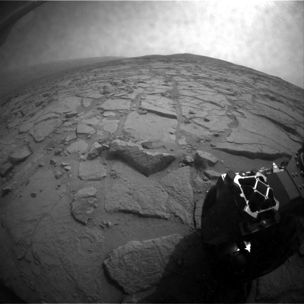 NASA's Mars rover Curiosity acquired this image using its Rear Hazard Avoidance Cameras (Rear Hazcams) on Sol 124