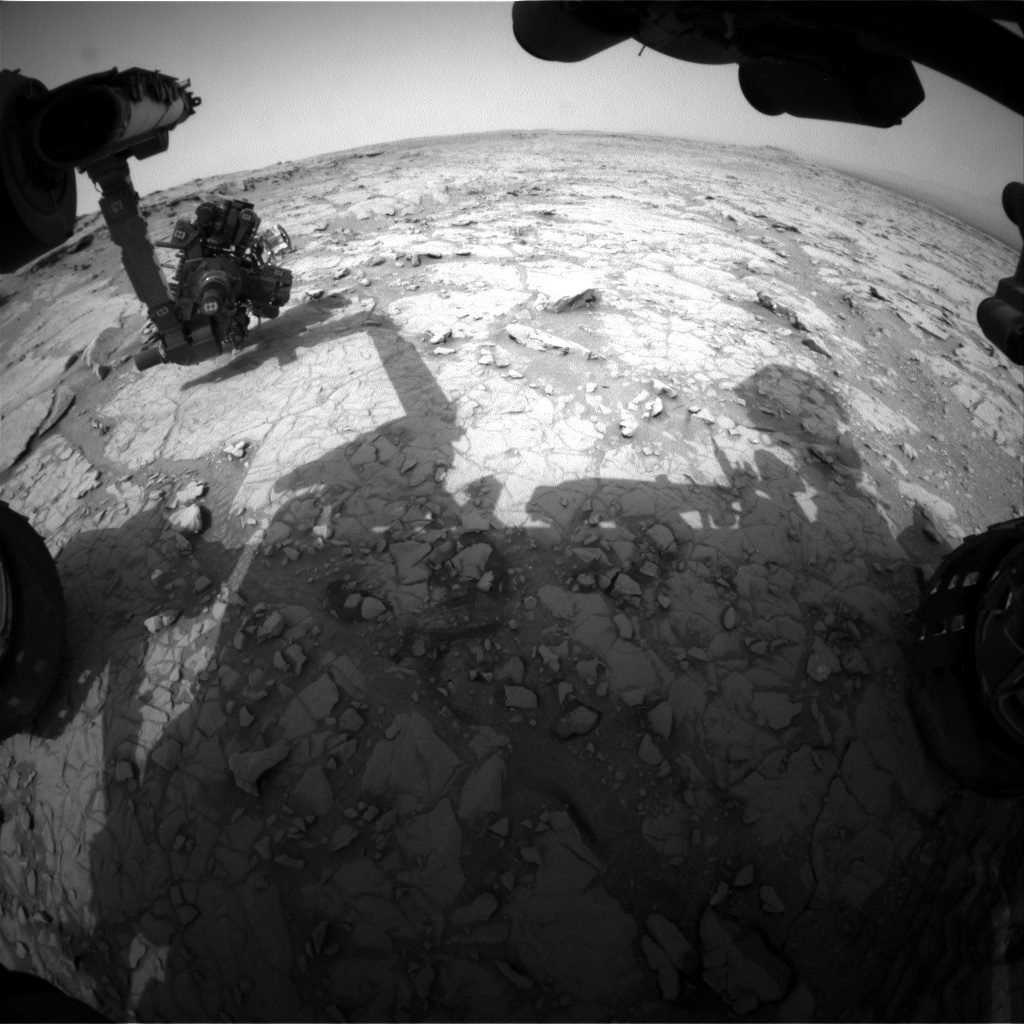 NASA's Mars rover Curiosity acquired this image using its Front Hazard Avoidance Cameras (Front Hazcams) on Sol 129