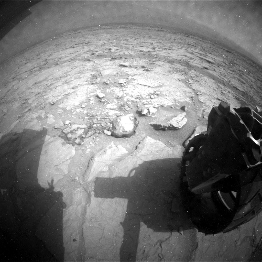 NASA's Mars rover Curiosity acquired this image using its Rear Hazard Avoidance Cameras (Rear Hazcams) on Sol 130