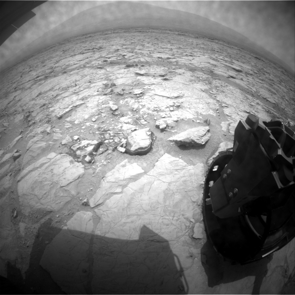 NASA's Mars rover Curiosity acquired this image using its Rear Hazard Avoidance Cameras (Rear Hazcams) on Sol 131