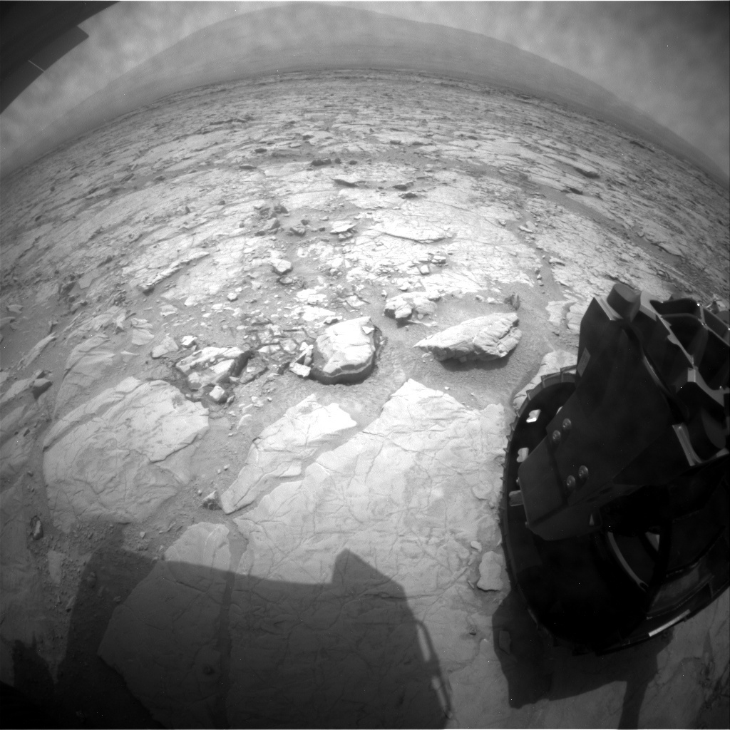 NASA's Mars rover Curiosity acquired this image using its Rear Hazard Avoidance Cameras (Rear Hazcams) on Sol 132