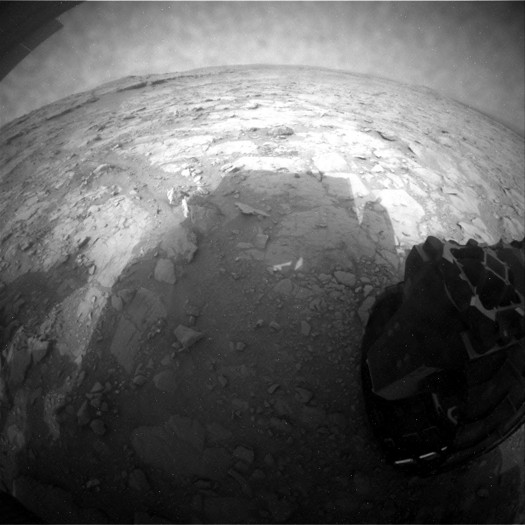 NASA's Mars rover Curiosity acquired this image using its Rear Hazard Avoidance Cameras (Rear Hazcams) on Sol 133