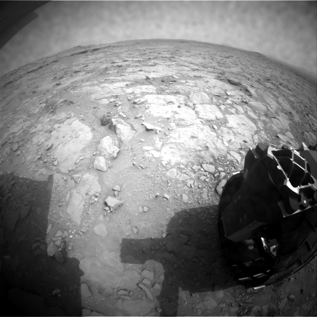 NASA's Mars rover Curiosity acquired this image using its Rear Hazard Avoidance Cameras (Rear Hazcams) on Sol 135