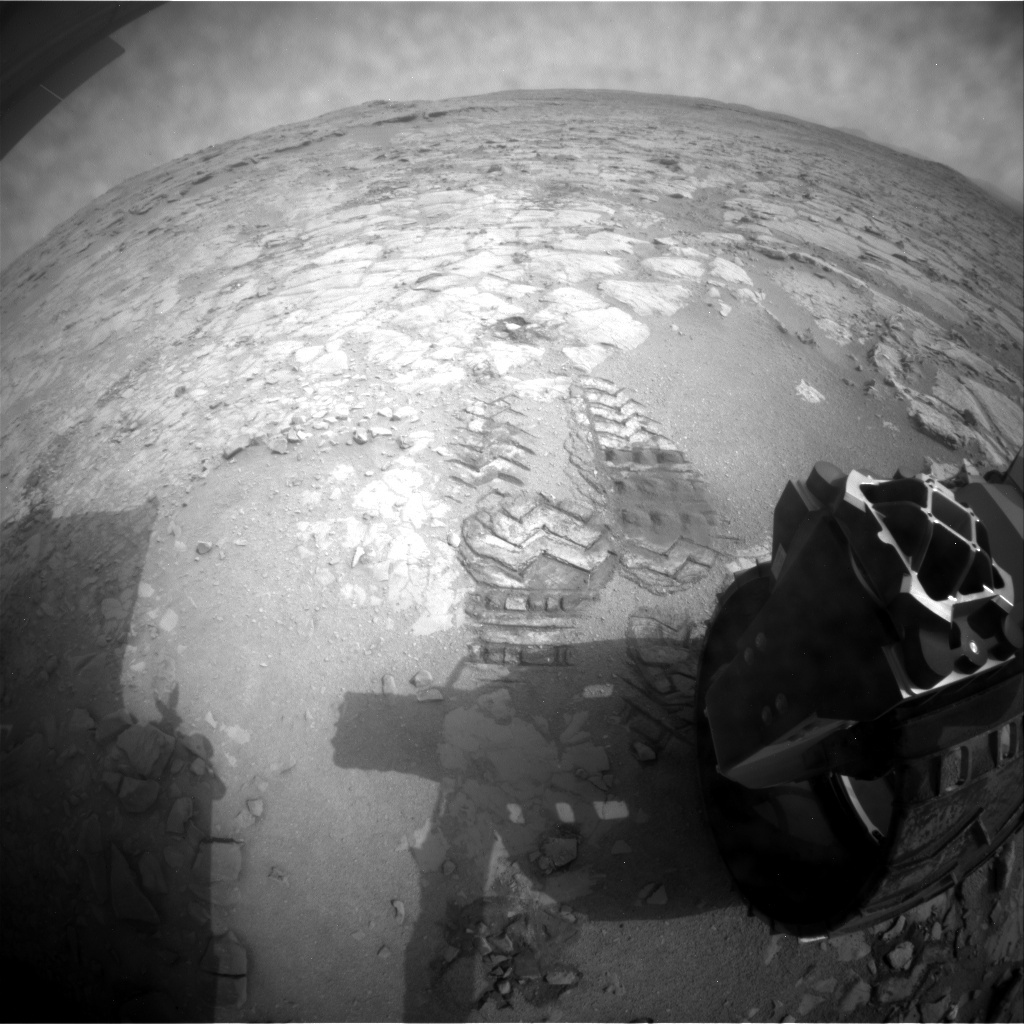 NASA's Mars rover Curiosity acquired this image using its Rear Hazard Avoidance Cameras (Rear Hazcams) on Sol 153