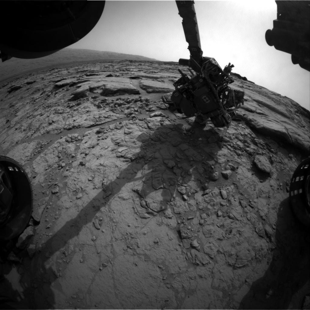 NASA's Mars rover Curiosity acquired this image using its Front Hazard Avoidance Cameras (Front Hazcams) on Sol 154