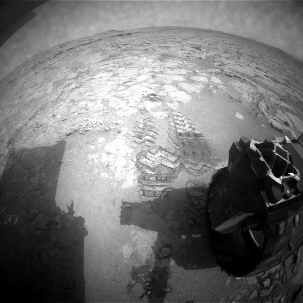NASA's Mars rover Curiosity acquired this image using its Rear Hazard Avoidance Cameras (Rear Hazcams) on Sol 154