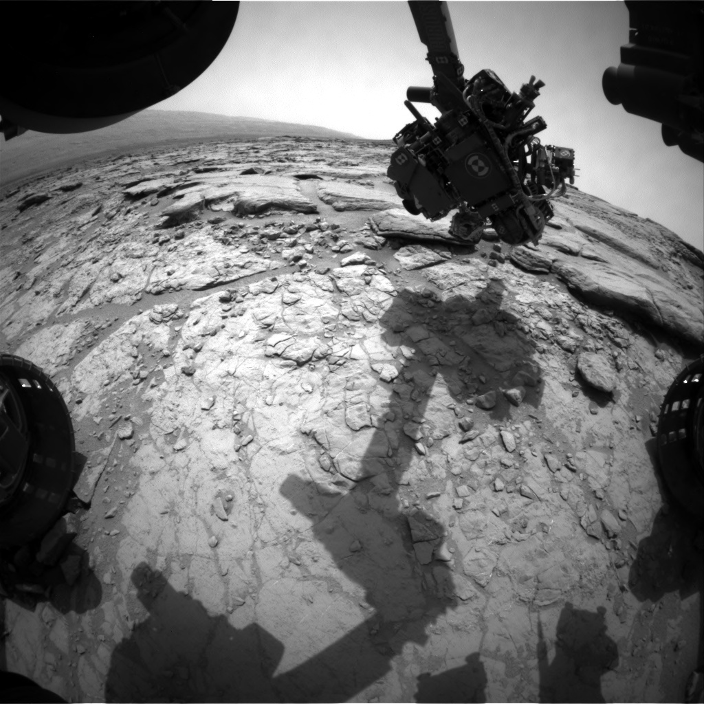 NASA's Mars rover Curiosity acquired this image using its Front Hazard Avoidance Cameras (Front Hazcams) on Sol 155