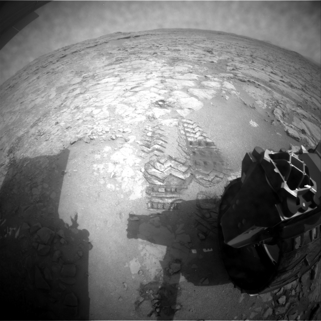 NASA's Mars rover Curiosity acquired this image using its Rear Hazard Avoidance Cameras (Rear Hazcams) on Sol 155