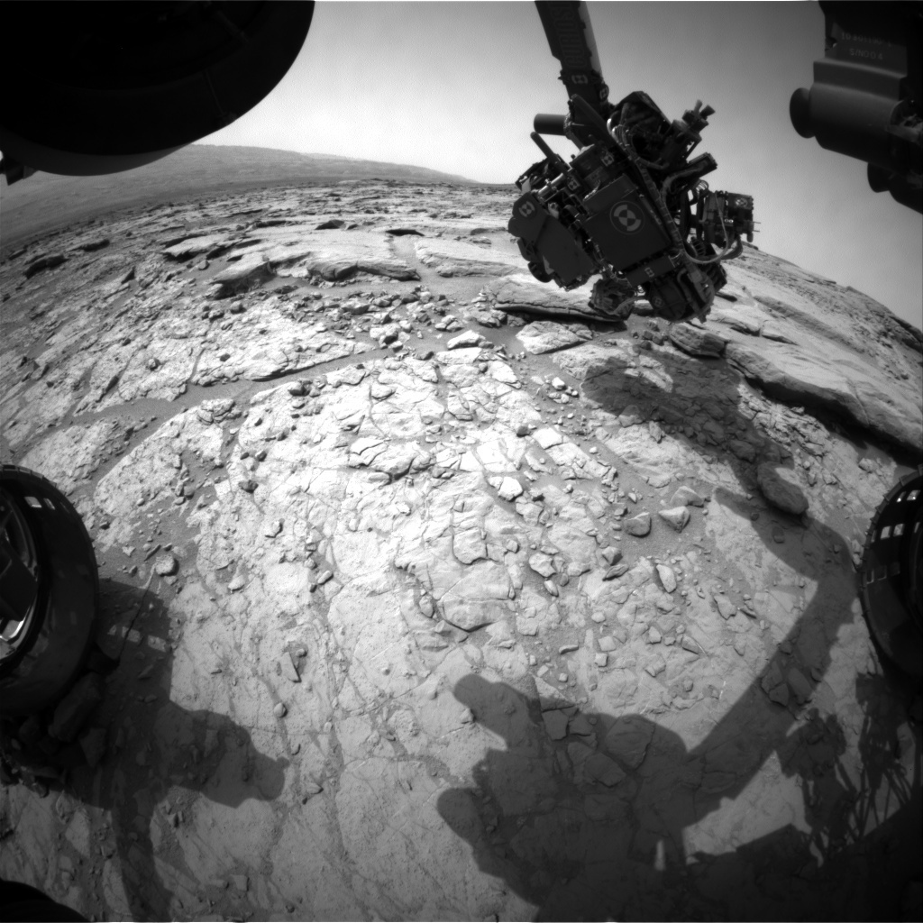 NASA's Mars rover Curiosity acquired this image using its Front Hazard Avoidance Cameras (Front Hazcams) on Sol 156