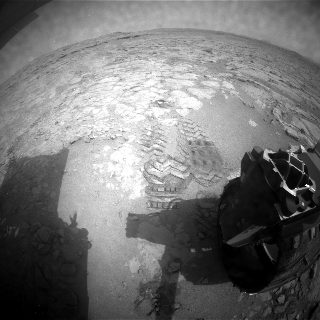 NASA's Mars rover Curiosity acquired this image using its Rear Hazard Avoidance Cameras (Rear Hazcams) on Sol 156
