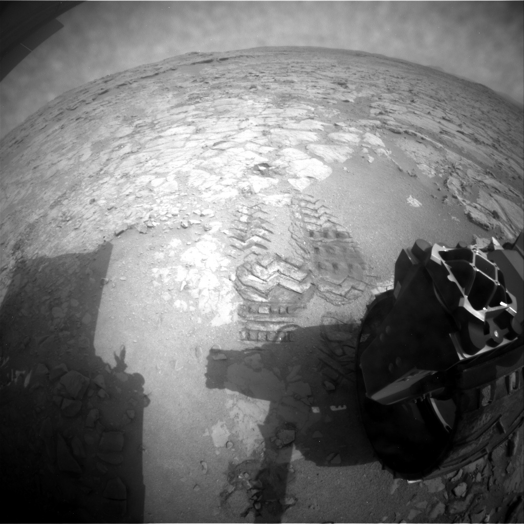 NASA's Mars rover Curiosity acquired this image using its Rear Hazard Avoidance Cameras (Rear Hazcams) on Sol 157