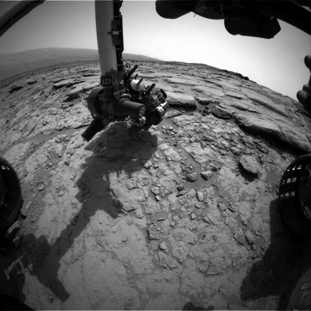 NASA's Mars rover Curiosity acquired this image using its Front Hazard Avoidance Cameras (Front Hazcams) on Sol 158