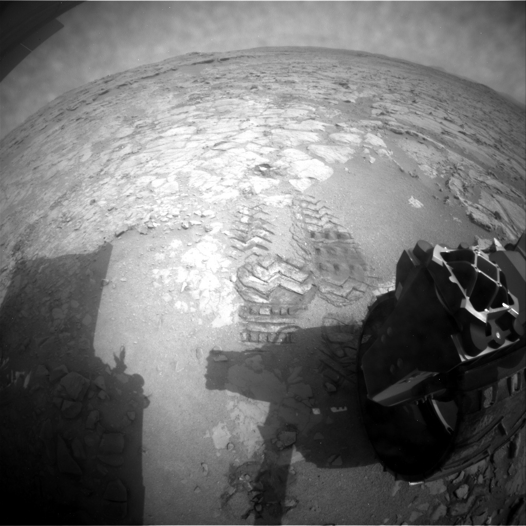 NASA's Mars rover Curiosity acquired this image using its Rear Hazard Avoidance Cameras (Rear Hazcams) on Sol 158