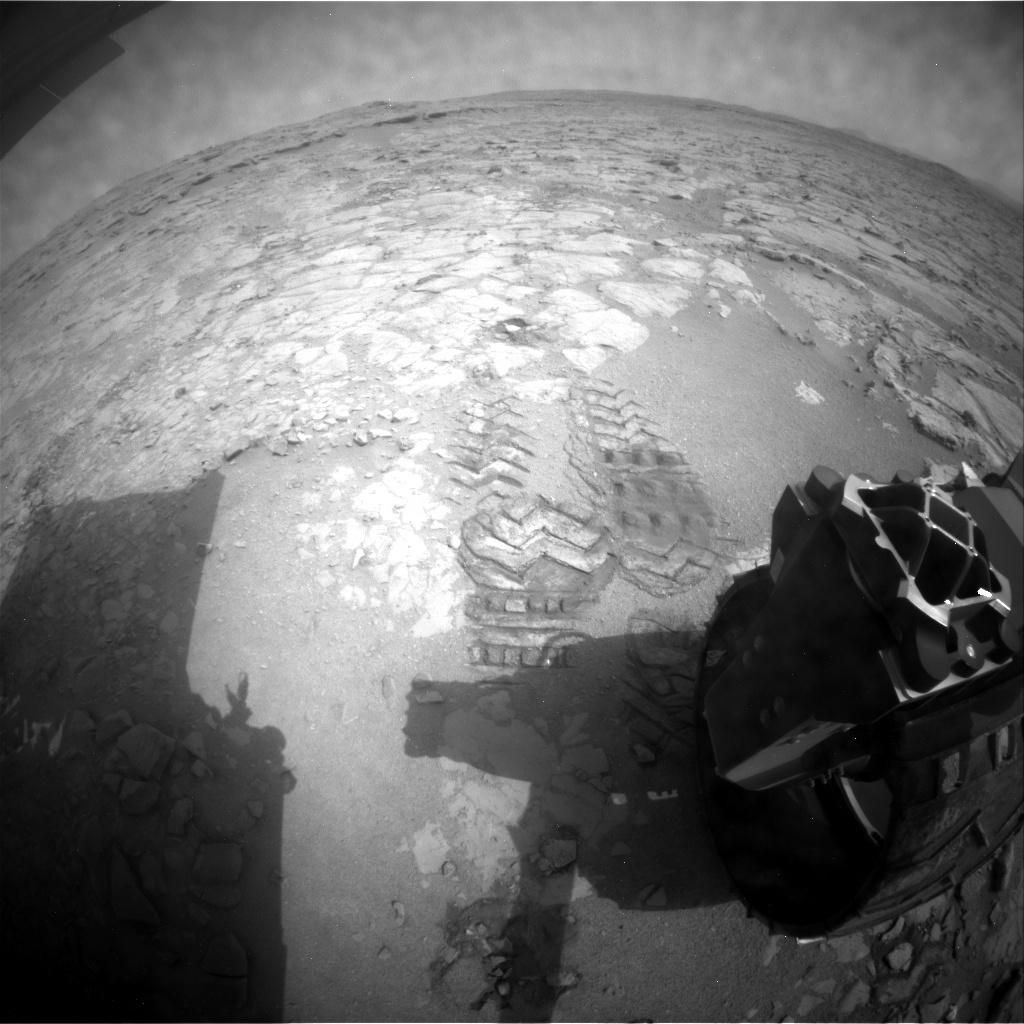 NASA's Mars rover Curiosity acquired this image using its Rear Hazard Avoidance Cameras (Rear Hazcams) on Sol 159