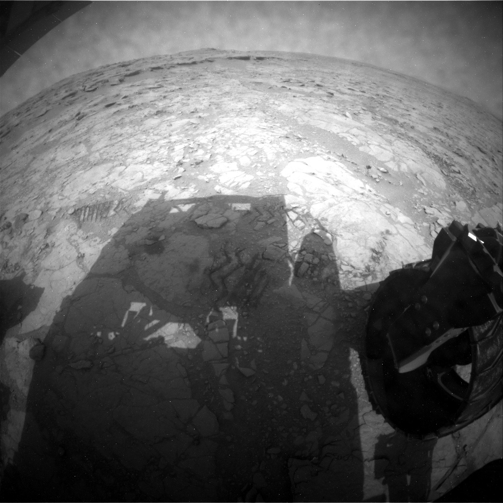 NASA's Mars rover Curiosity acquired this image using its Rear Hazard Avoidance Cameras (Rear Hazcams) on Sol 162