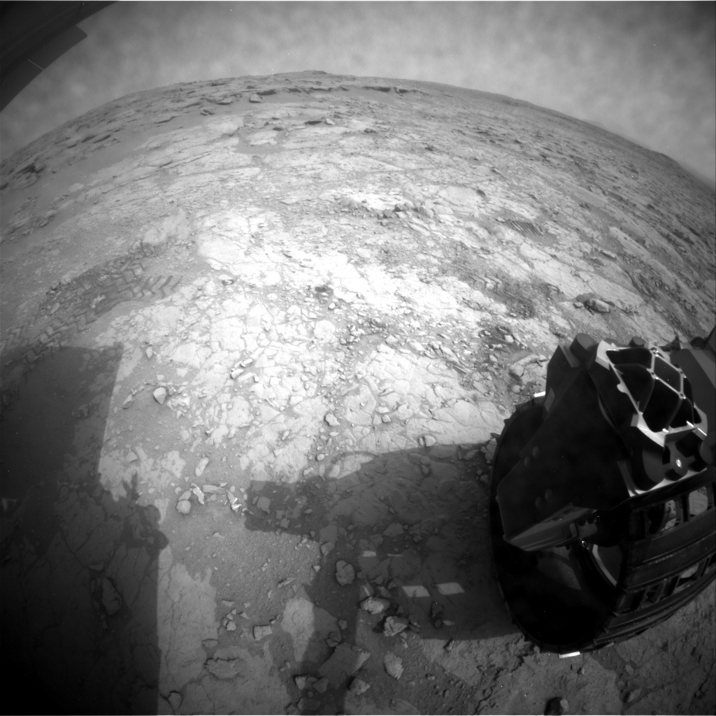 NASA's Mars rover Curiosity acquired this image using its Rear Hazard Avoidance Cameras (Rear Hazcams) on Sol 165