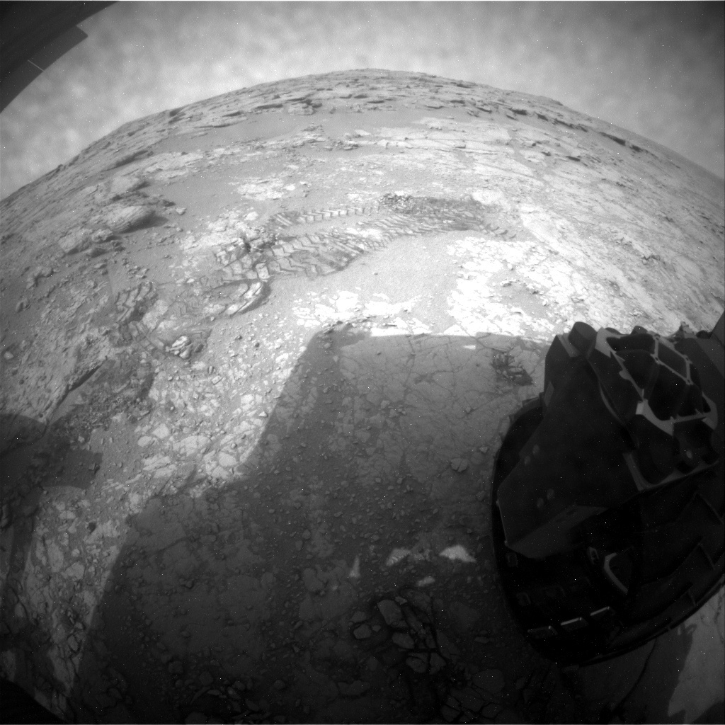NASA's Mars rover Curiosity acquired this image using its Rear Hazard Avoidance Cameras (Rear Hazcams) on Sol 166