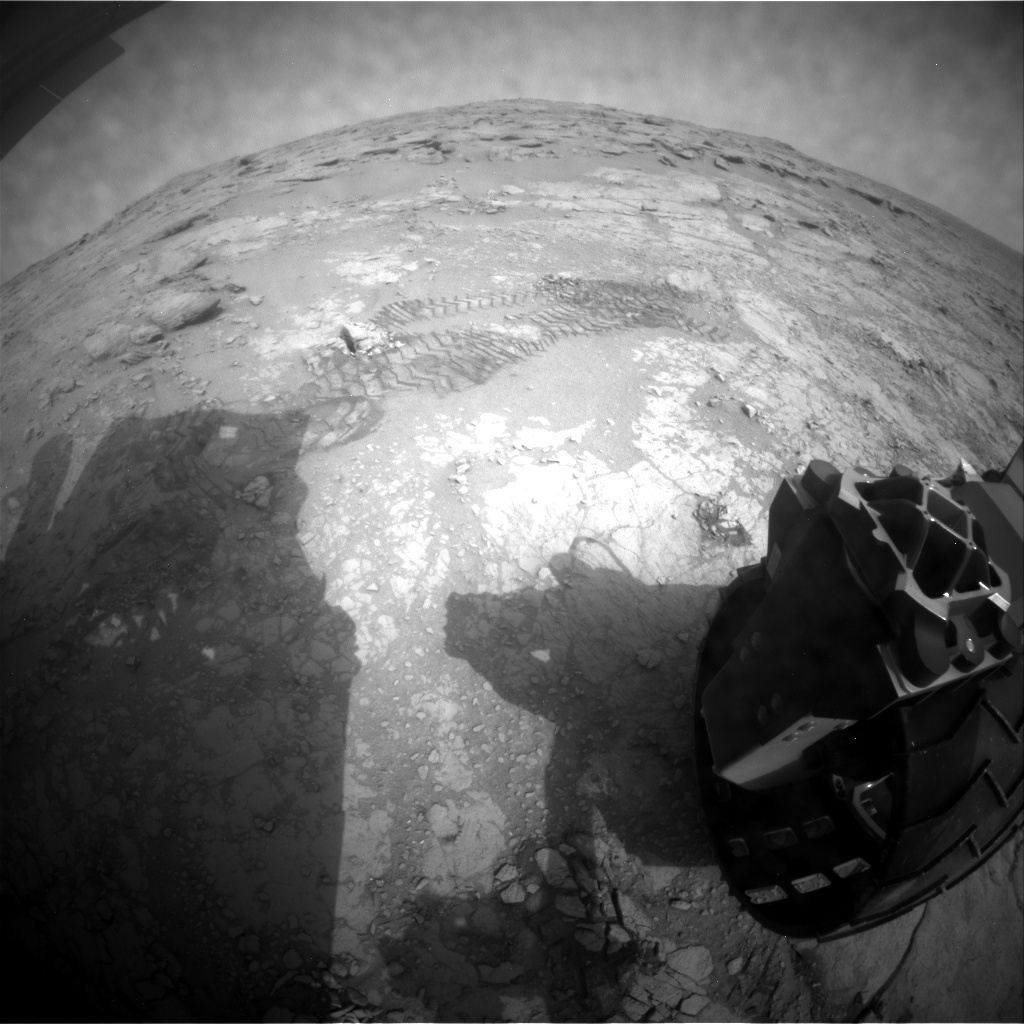 NASA's Mars rover Curiosity acquired this image using its Rear Hazard Avoidance Cameras (Rear Hazcams) on Sol 169