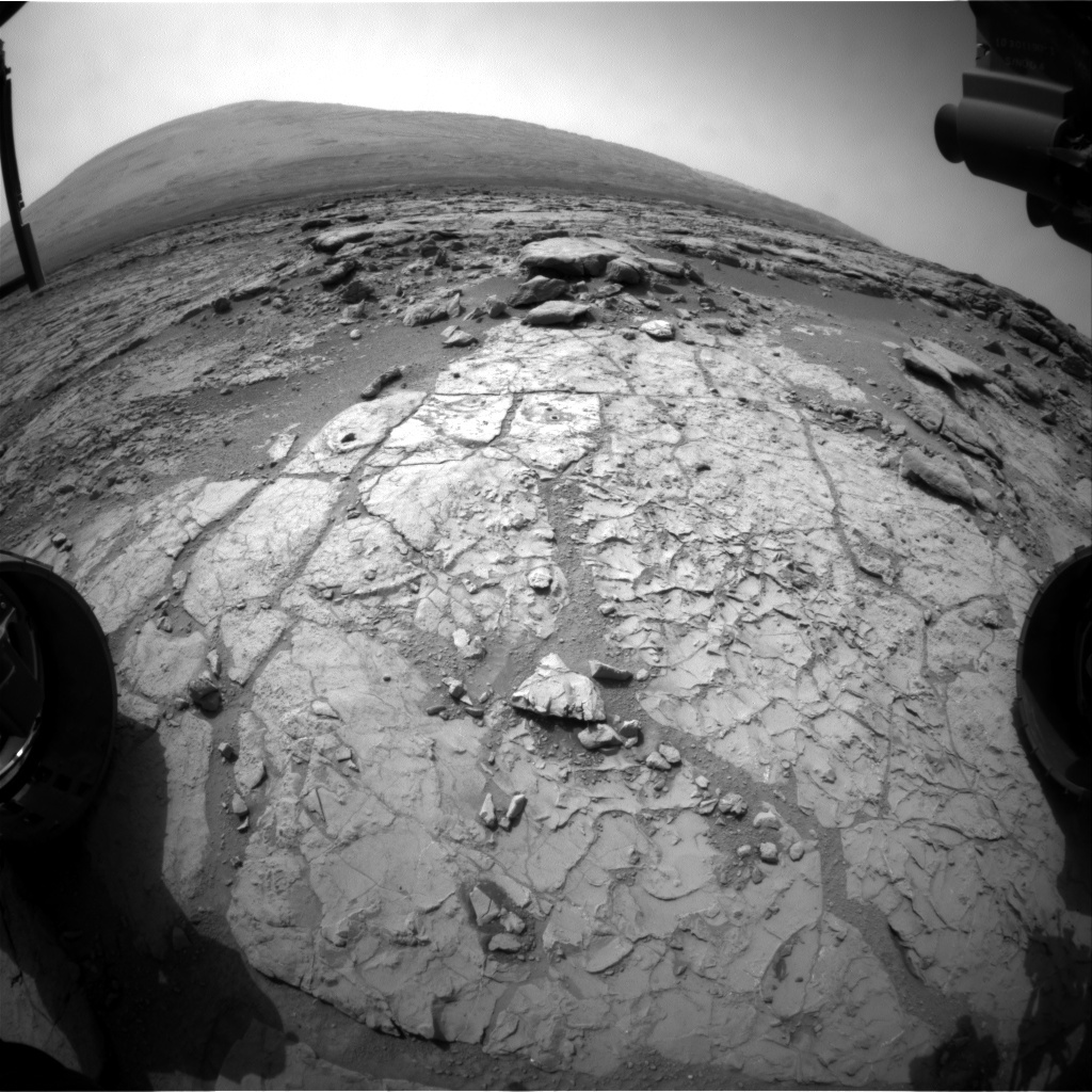 NASA's Mars rover Curiosity acquired this image using its Front Hazard Avoidance Cameras (Front Hazcams) on Sol 185