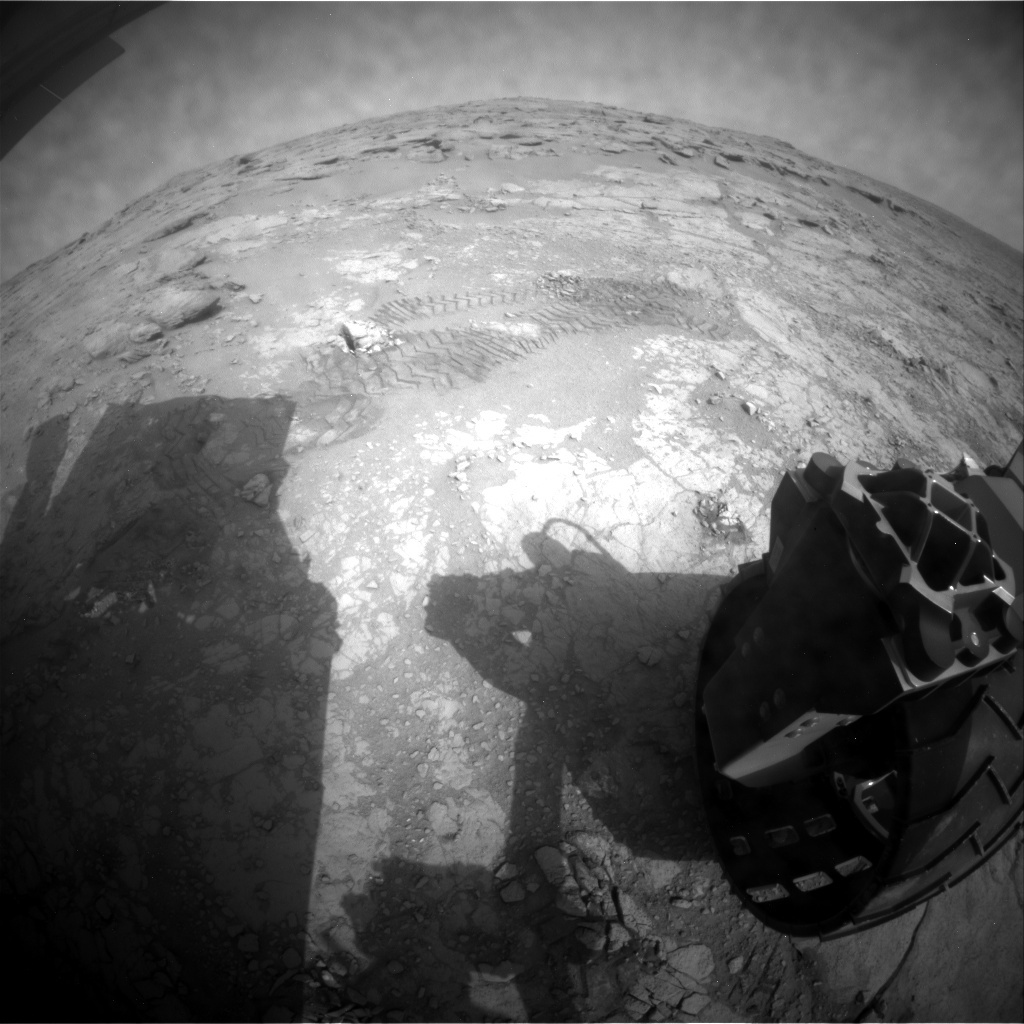 NASA's Mars rover Curiosity acquired this image using its Rear Hazard Avoidance Cameras (Rear Hazcams) on Sol 190