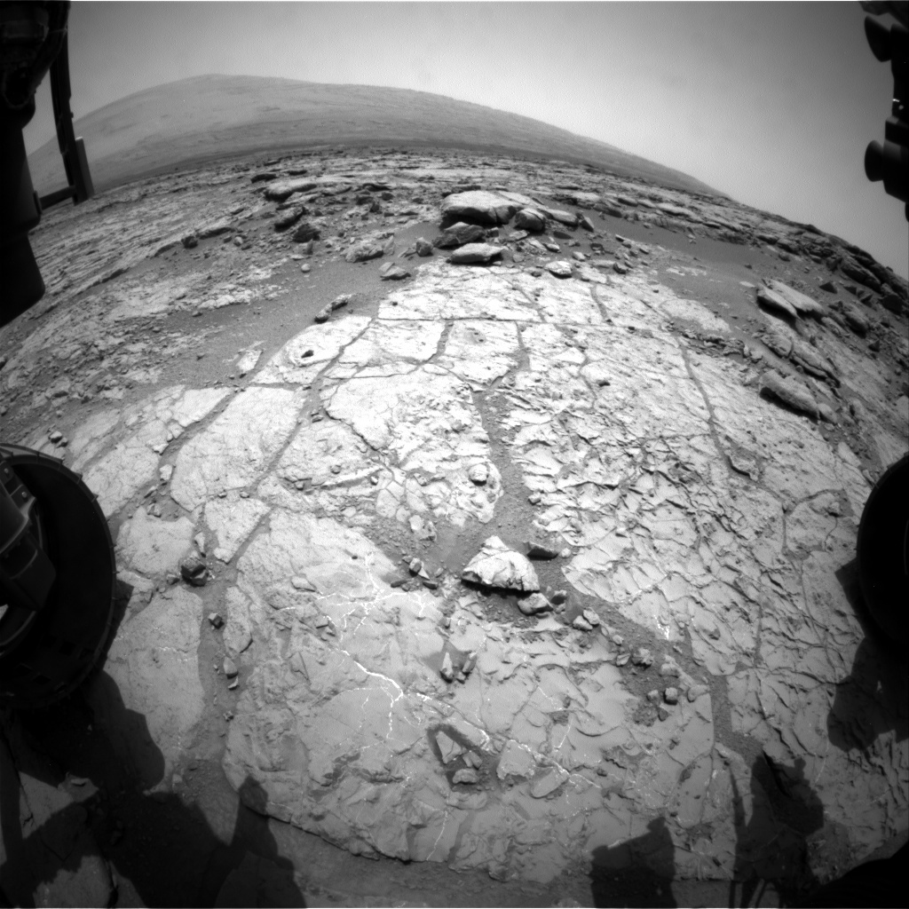 NASA's Mars rover Curiosity acquired this image using its Front Hazard Avoidance Cameras (Front Hazcams) on Sol 215