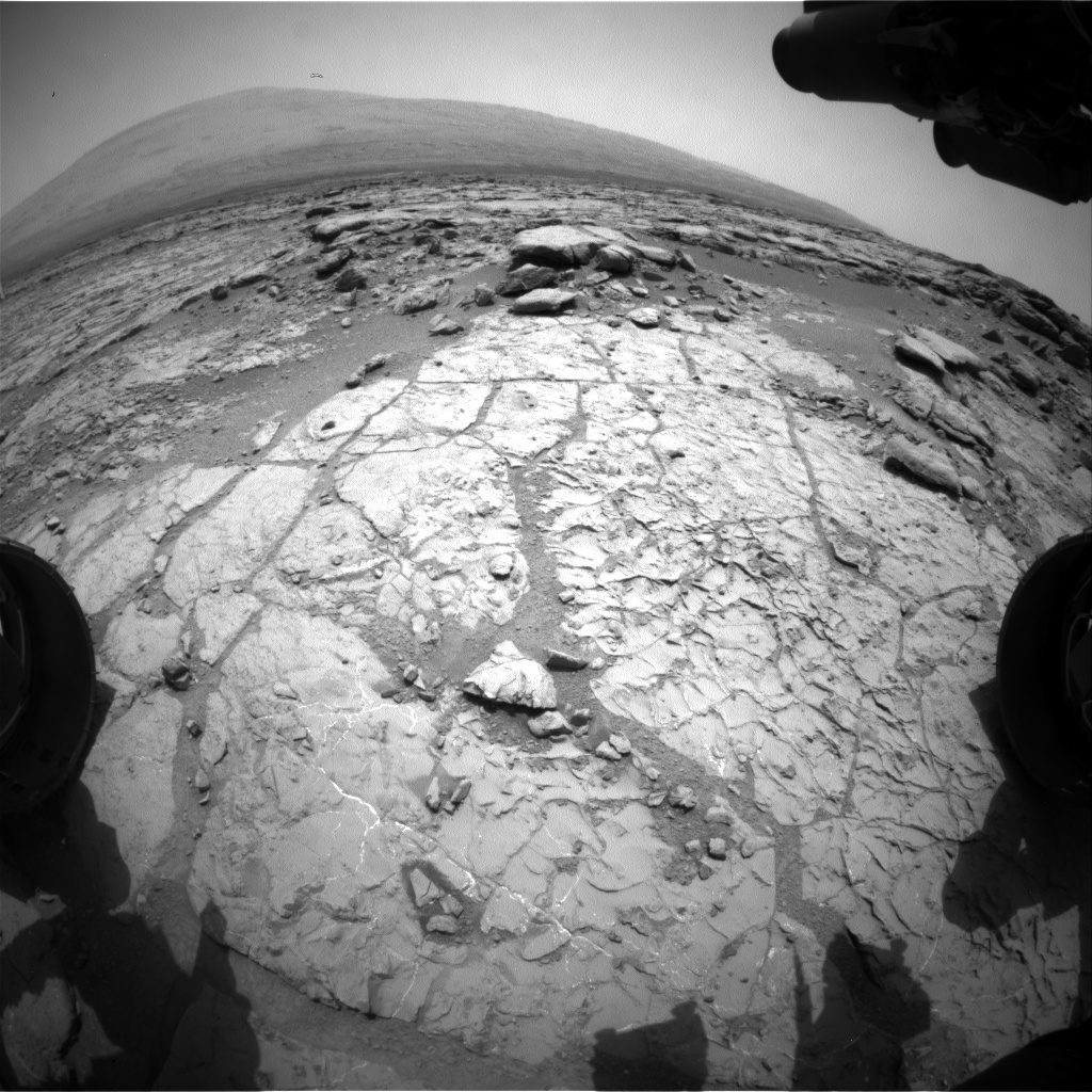 Nasa's Mars rover Curiosity acquired this image using its Front Hazard Avoidance Camera (Front Hazcam) on Sol 215, at drive 0, site number 6