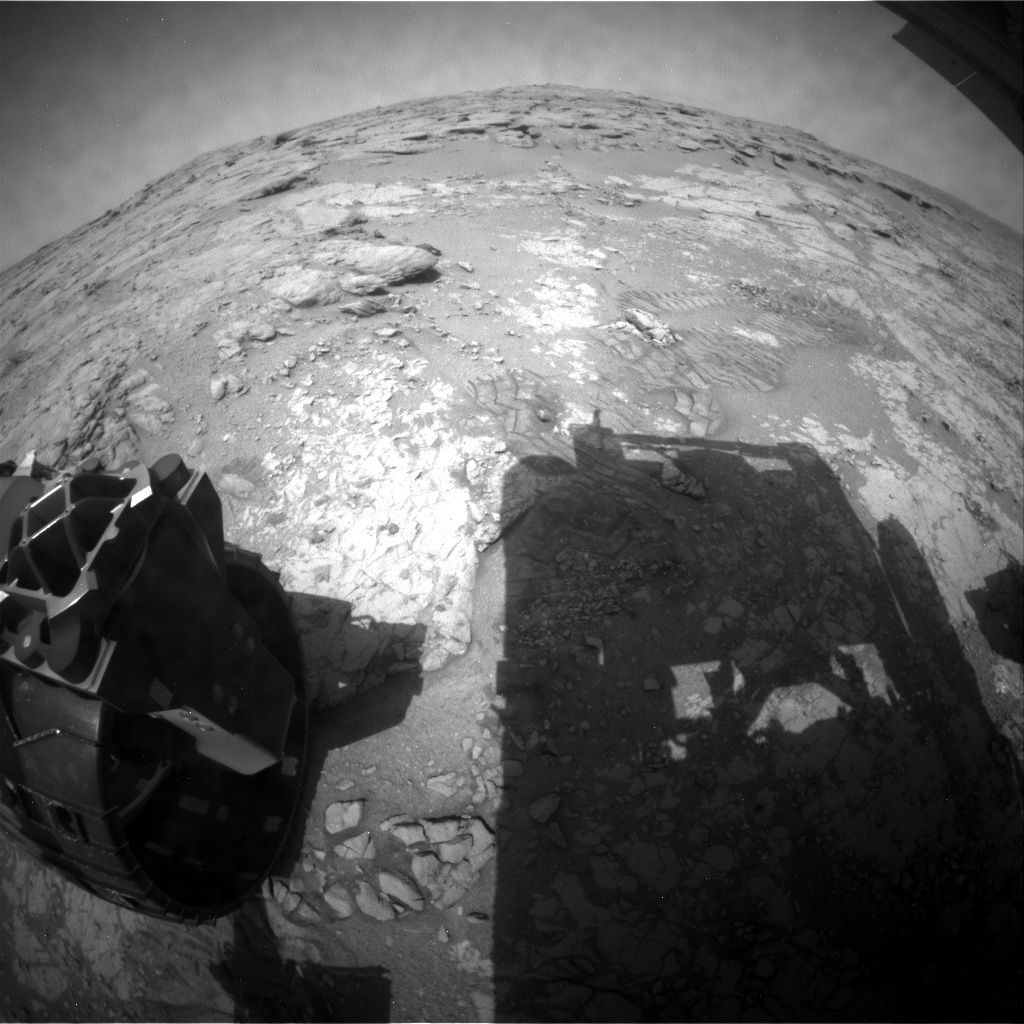 NASA's Mars rover Curiosity acquired this image using its Rear Hazard Avoidance Cameras (Rear Hazcams) on Sol 215