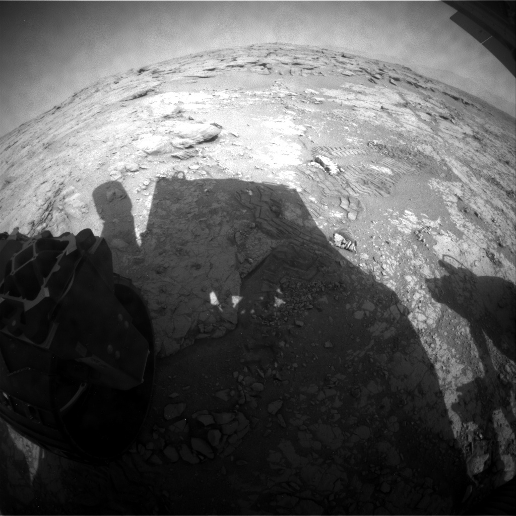 NASA's Mars rover Curiosity acquired this image using its Rear Hazard Avoidance Cameras (Rear Hazcams) on Sol 223
