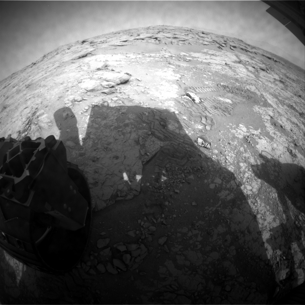 NASA's Mars rover Curiosity acquired this image using its Rear Hazard Avoidance Cameras (Rear Hazcams) on Sol 225