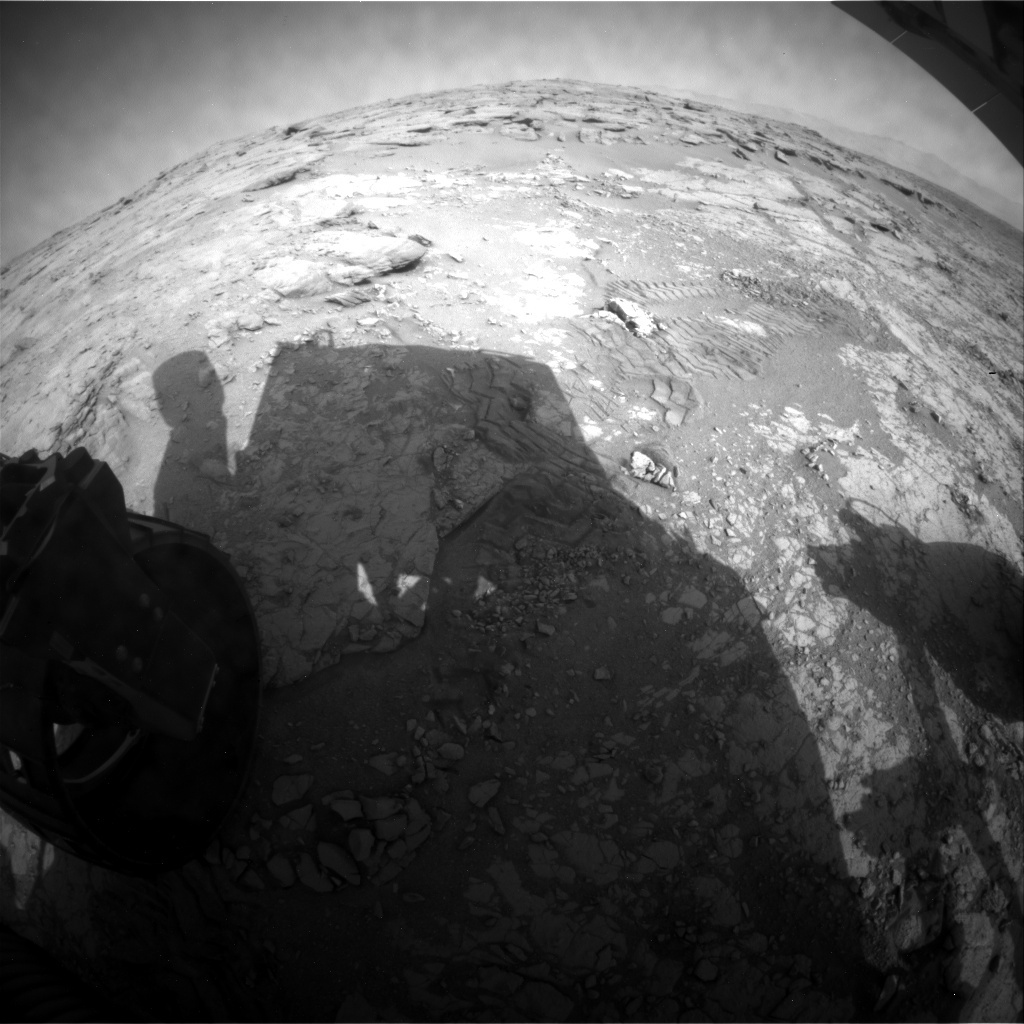 NASA's Mars rover Curiosity acquired this image using its Rear Hazard Avoidance Cameras (Rear Hazcams) on Sol 235