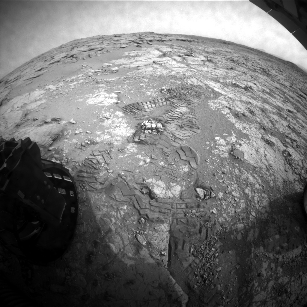 NASA's Mars rover Curiosity acquired this image using its Rear Hazard Avoidance Cameras (Rear Hazcams) on Sol 275