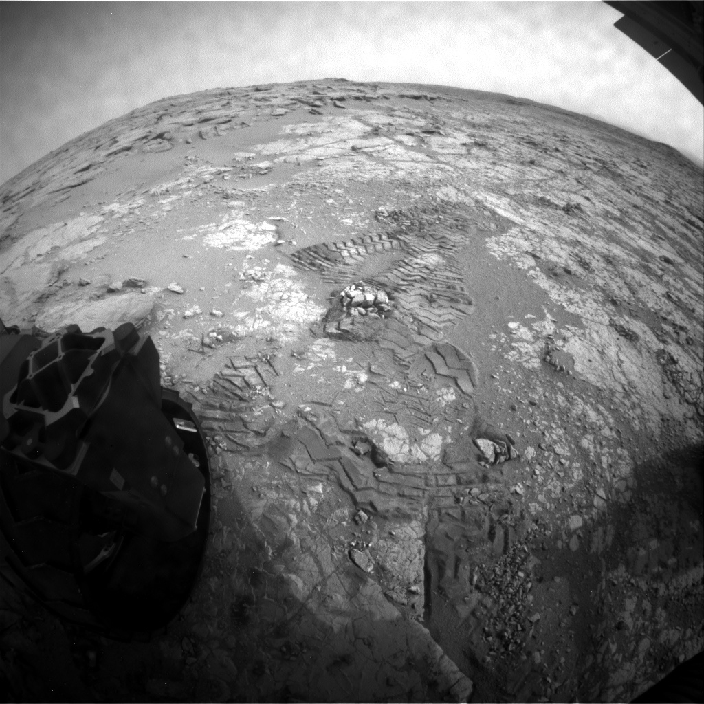 NASA's Mars rover Curiosity acquired this image using its Rear Hazard Avoidance Cameras (Rear Hazcams) on Sol 279