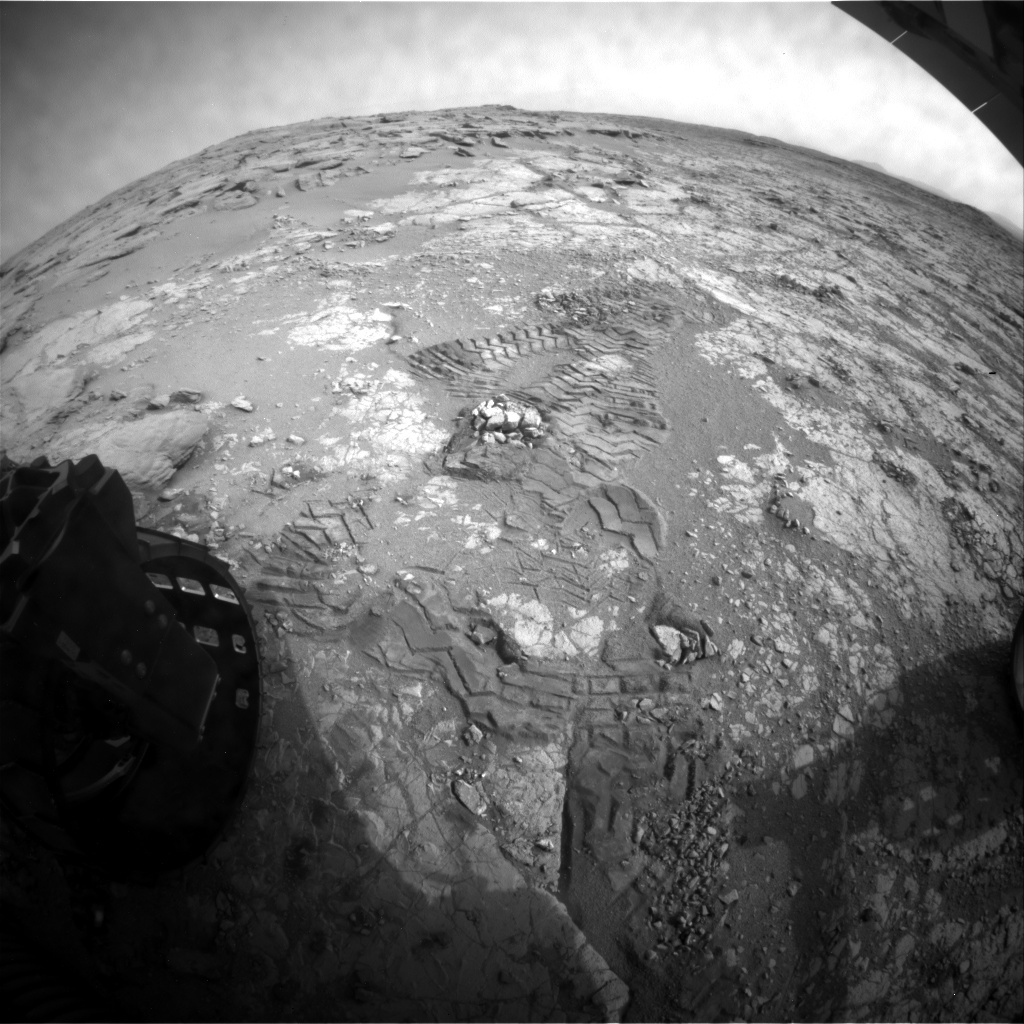 NASA's Mars rover Curiosity acquired this image using its Rear Hazard Avoidance Cameras (Rear Hazcams) on Sol 281