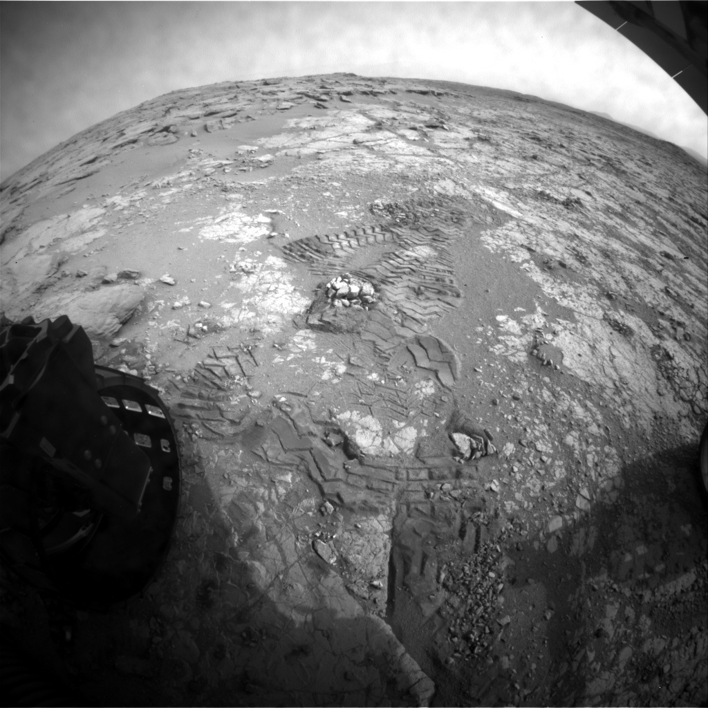 NASA's Mars rover Curiosity acquired this image using its Rear Hazard Avoidance Cameras (Rear Hazcams) on Sol 282