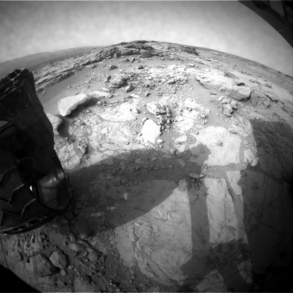 NASA's Mars rover Curiosity acquired this image using its Rear Hazard Avoidance Cameras (Rear Hazcams) on Sol 296