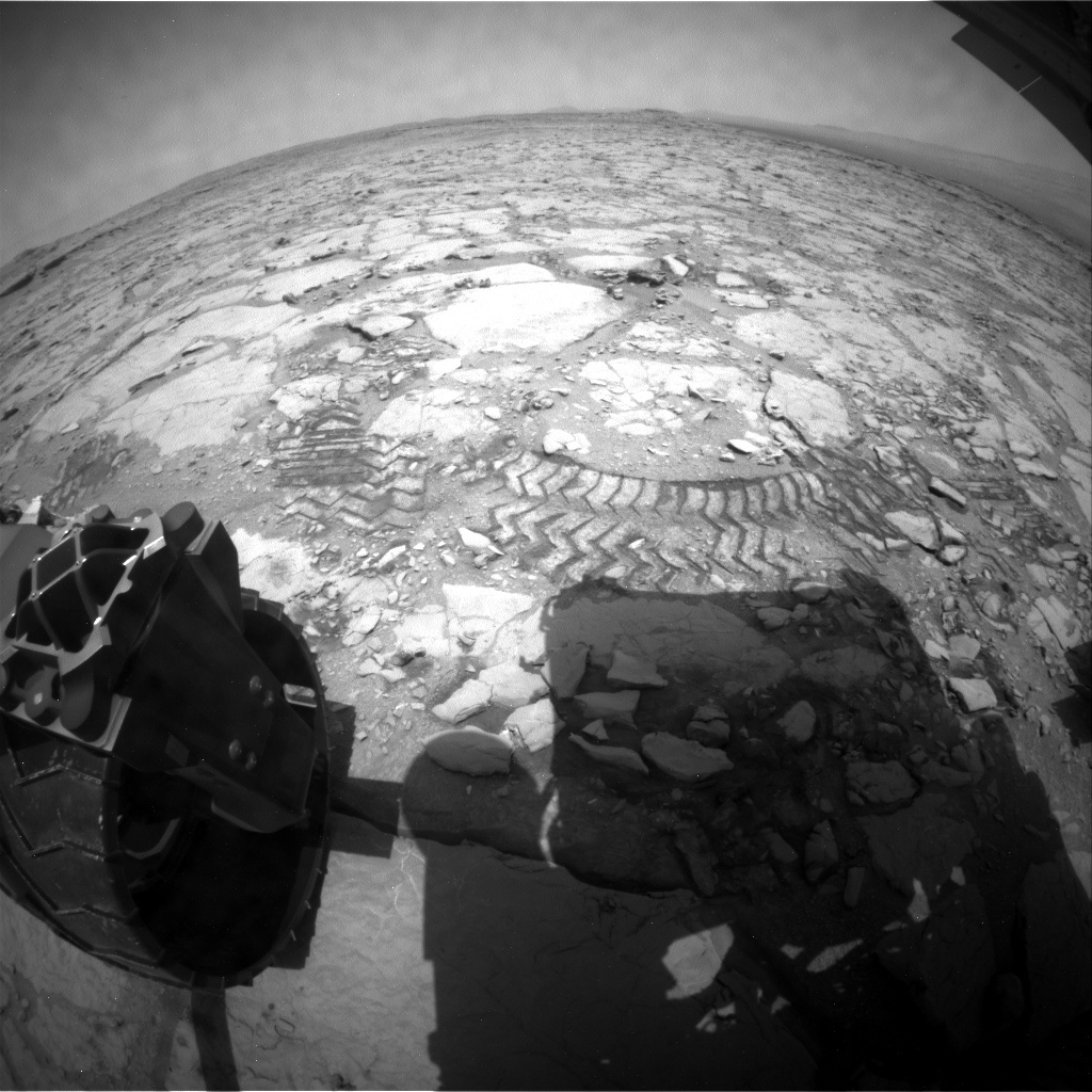 NASA's Mars rover Curiosity acquired this image using its Rear Hazard Avoidance Cameras (Rear Hazcams) on Sol 297