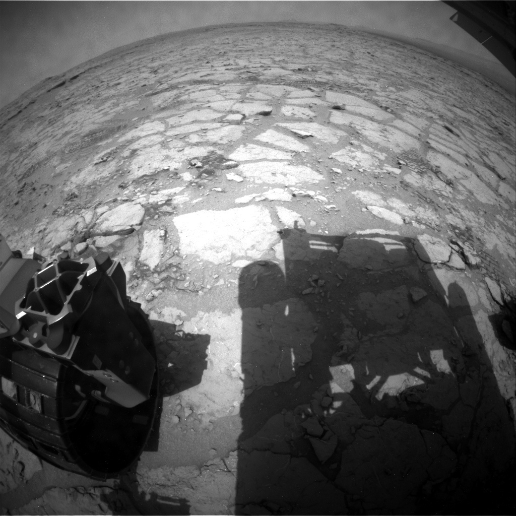 NASA's Mars rover Curiosity acquired this image using its Rear Hazard Avoidance Cameras (Rear Hazcams) on Sol 299