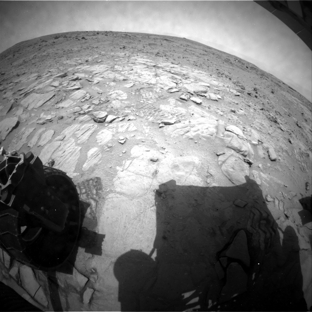 NASA's Mars rover Curiosity acquired this image using its Rear Hazard Avoidance Cameras (Rear Hazcams) on Sol 313