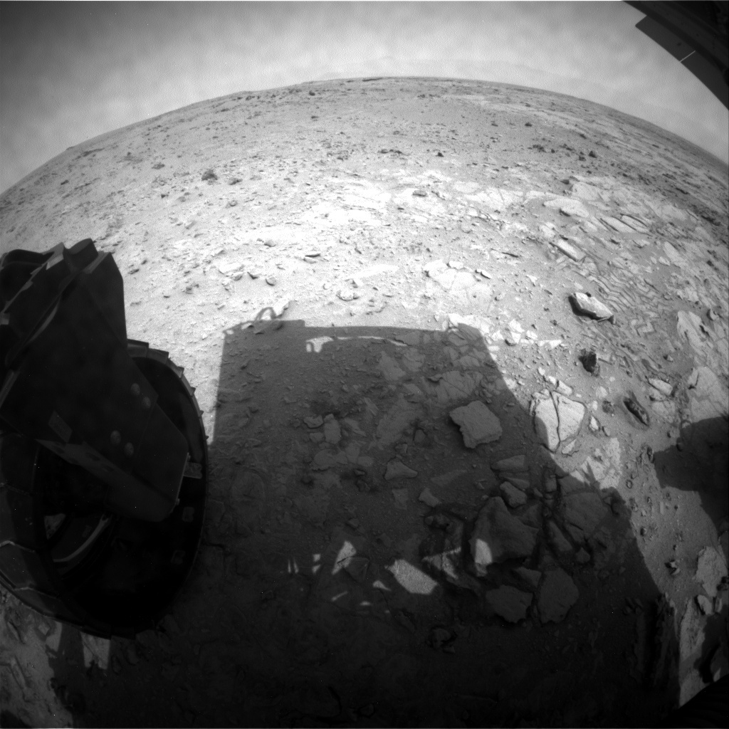 NASA's Mars rover Curiosity acquired this image using its Rear Hazard Avoidance Cameras (Rear Hazcams) on Sol 319