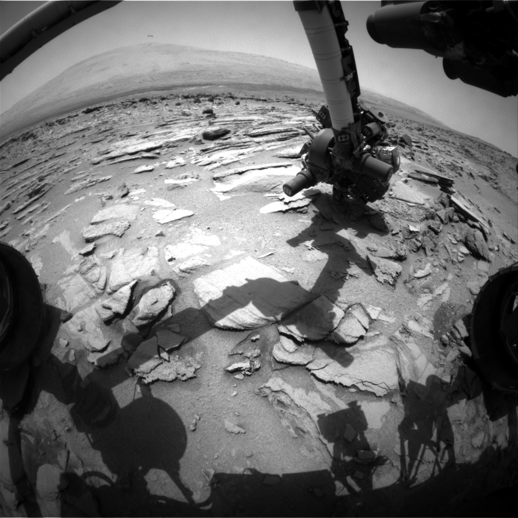 Nasa's Mars rover Curiosity acquired this image using its Front Hazard Avoidance Camera (Front Hazcam) on Sol 323, at drive 804, site number 6