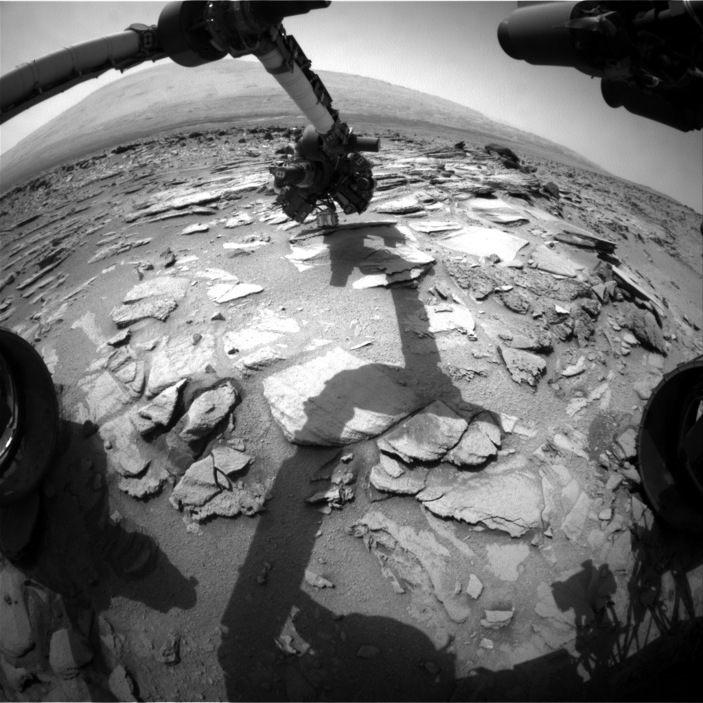 Nasa's Mars rover Curiosity acquired this image using its Front Hazard Avoidance Camera (Front Hazcam) on Sol 324, at drive 804, site number 6
