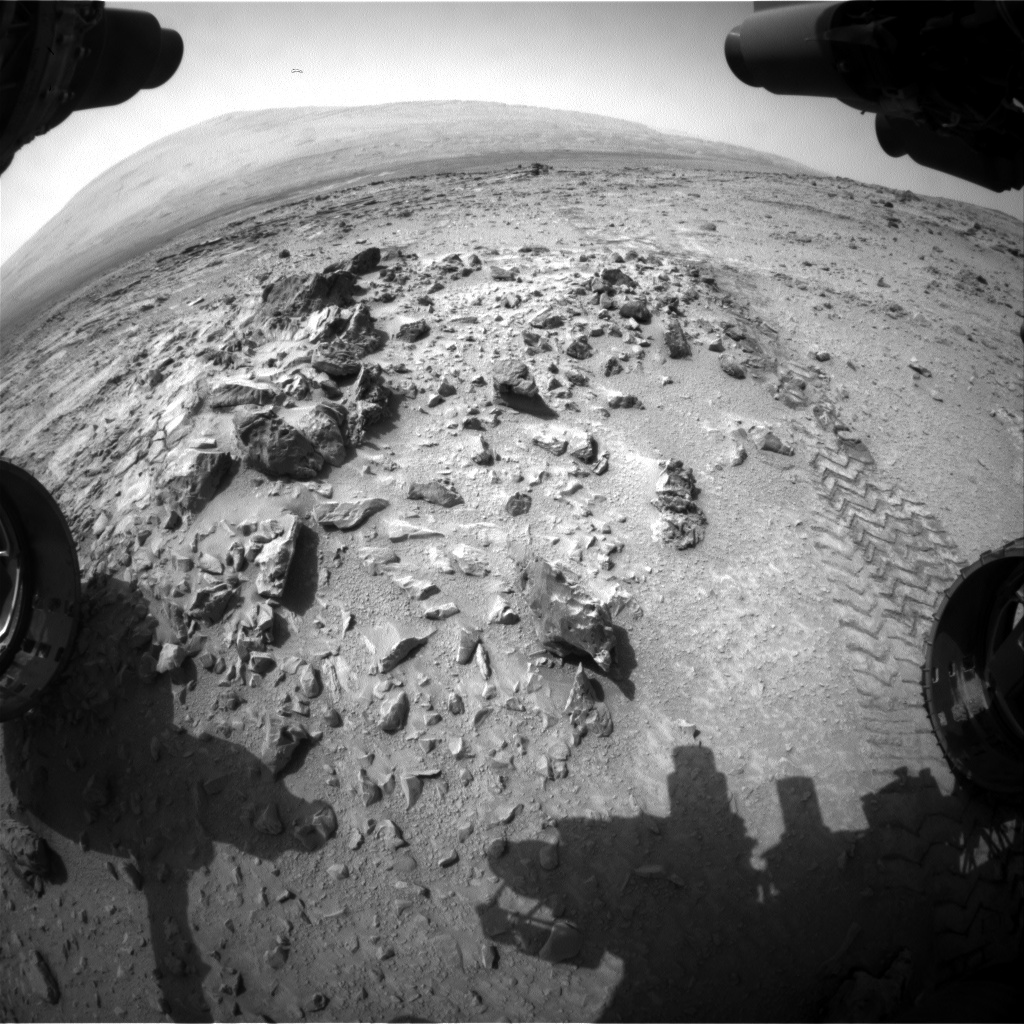 Nasa's Mars rover Curiosity acquired this image using its Front Hazard Avoidance Camera (Front Hazcam) on Sol 325, at drive 0, site number 7