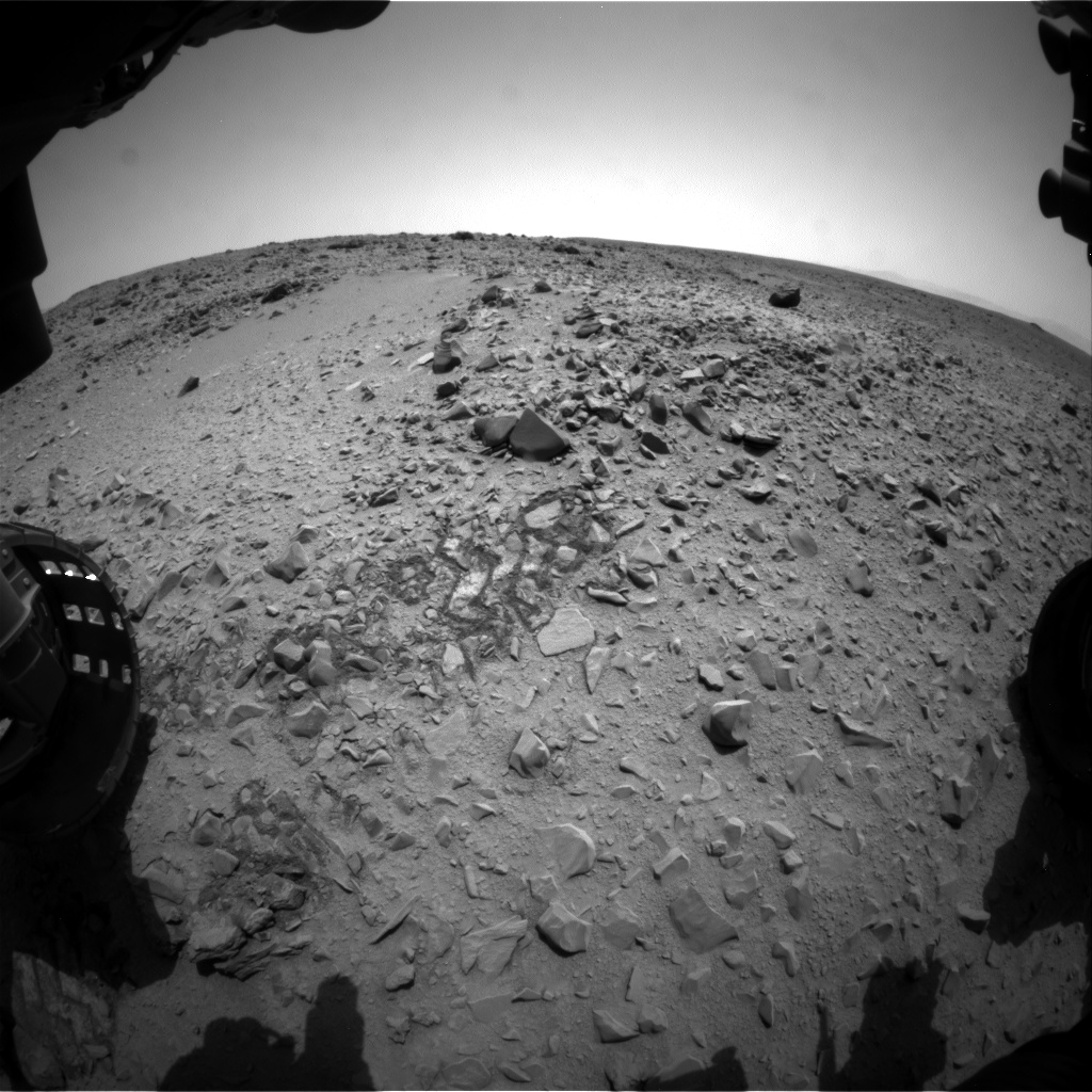 Nasa's Mars rover Curiosity acquired this image using its Front Hazard Avoidance Camera (Front Hazcam) on Sol 327, at drive 136, site number 7